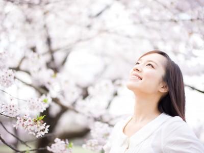 リラックスしたイメージ、桜と女性