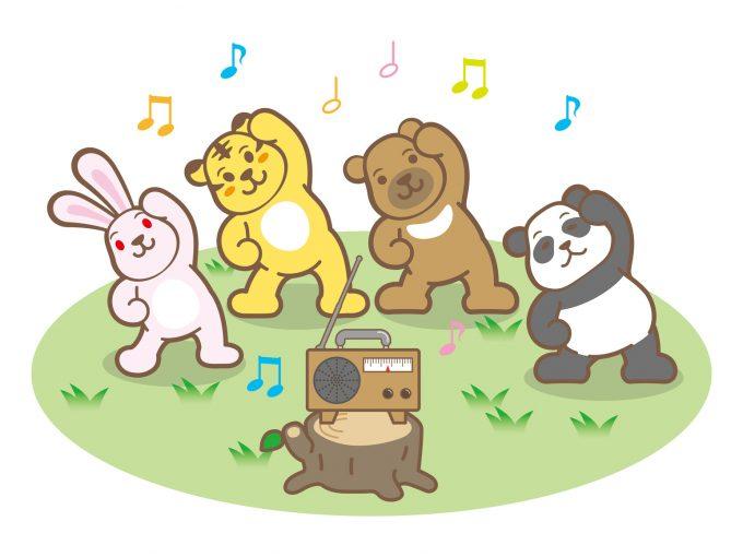 ラジオ体操をする動物たち