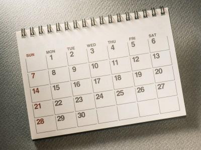 カレンダー、週間