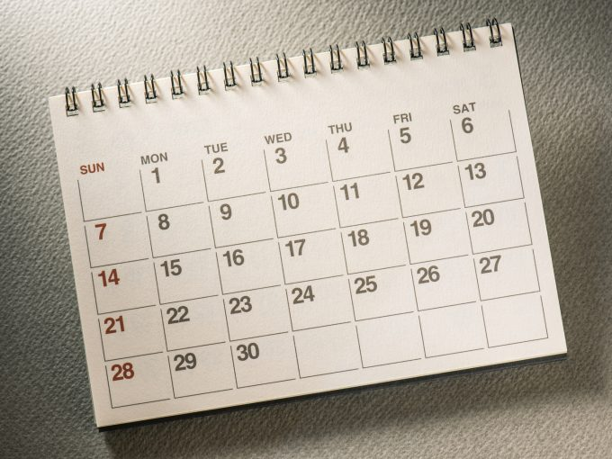 カレンダー1ヶ月
