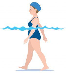 プールで歩く女性のイラスト