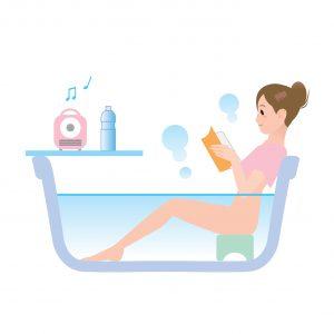 半身浴 本を読む