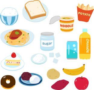 糖質の多い食べ物のイラスト