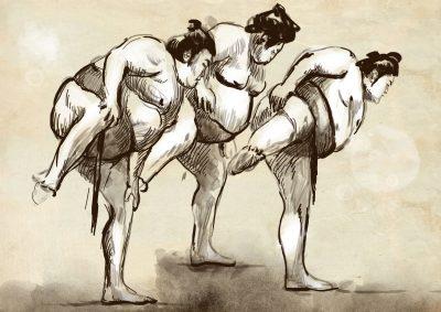 四股踏みをするお相撲さん