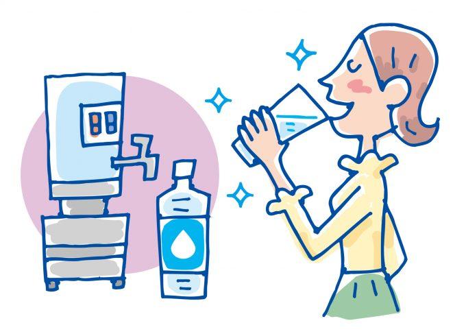 ウォーターサーバーで美味しい水を飲む女性