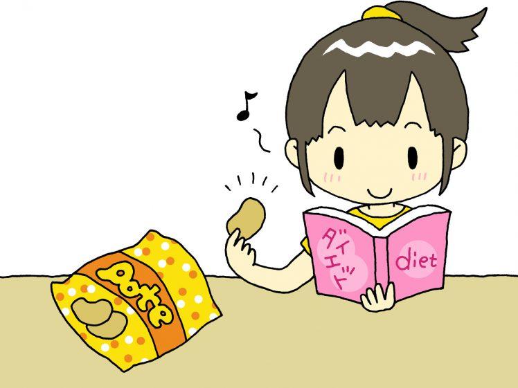 ダイエット中でも太らないお菓子を食べる女の子