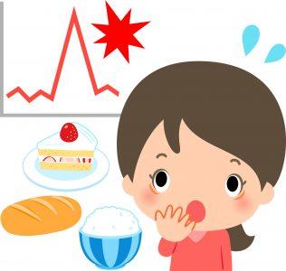 驚く女性と血糖値急上昇のイメージ