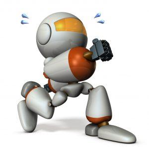 大股で歩くキュートなロボット
