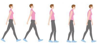 悪い姿勢と良い姿勢で歩く女性
