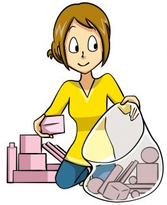 不用品を片付ける女性 イラスト