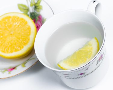 Hot Lemon Water in China Cup